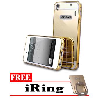 Case Mirror Aluminium Bumper For Lenovo A7000 iRing Gold .