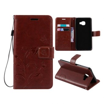 Harga Leather Wallet Flip Cover Case For Samsung Galaxy C5(Coffee)