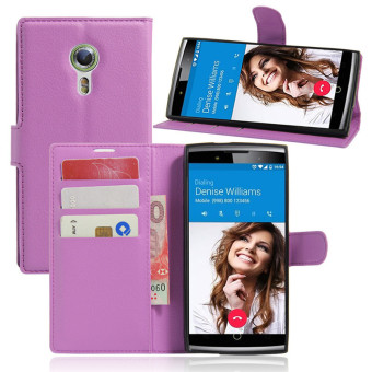 Harga Wallet Flip Leather Case For Alcatel Flash 2/Alcatel OneTouch Flash 2 (Purple) - intl