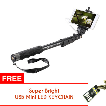 Harga Yunteng YT-1188 Monopod / Selfie Stick / Tongsis Kabel U Holder YT1188 Free USB Mini LED Light KeyChain (Hitam)