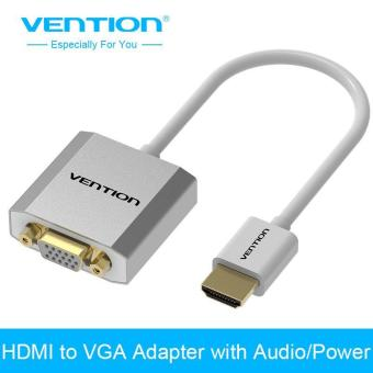 Harga Vention HDMI to VGA Adapter Digital To Analog Audio converter aluminum Cable For Xbox PS4 PC Laptop TV Box to Projector - intl