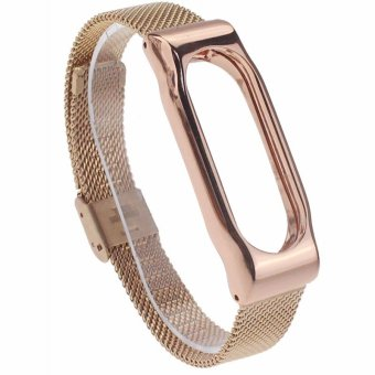 Harga MiJobs Replaceable Stainless Steel Wrist Strap for Xiaomi Mi Band 2 Smart Bracelet - Gold