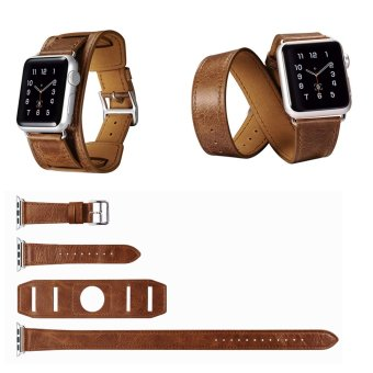 Harga ICARER Double Tour and Cuff Genuine Leather Watchband with Classic Metal Buckle for Apple Watch iWatch 42mm (Brown)