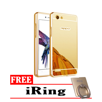 Case For Oppo Neo 7 / A33 Bumper Slide Mirror - Gold + Free iRing