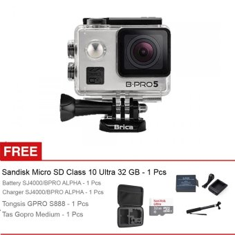 Harga Brica B-PRO5 Alpha Edition 4K (AE2) Mark II Paket Super Komplit 32gb + Gratis Battery Original Brica Bpro - Silver