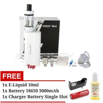 Harga Kangertech Subox Mini Starter Kit Rokok Electric Vapor Vape Kanger Tech SUBTANK PRO Mod Vaporizer + AWT Battery 18650 + Charger + E-Liquid 10 ml (White)