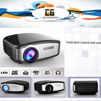 Harga CHEERLUX C6 Mini LED Projector 800x480 1200Lm Analog TV with EU Plug-Black