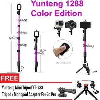 Harga Yunteng YT-1288 Monopod Color Edition Tongsis 1288 with Bluetooth Function + U Holder + Yunteng 228 + Connecting Hinge for GoPro / Xiaomi Yi