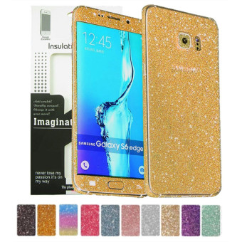 Harga Dull Polish Rhinestone Diamond Shining Bling Full Body Skin Sticke Front Back Glitter Cover Film for Samsung GALAXY S6 Edge