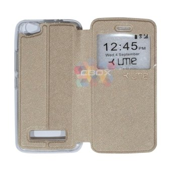 Harga Ume FLip Leather Phone Cover for Himax M2 Sarung Case / Flipshell / FlipCover / Leather Case / Sarung HP / View - gold
