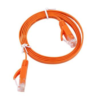 Harga RJ45 CAT6 Ethernet Network Flat LAN Cable UTP Patch Router Cables 1000M (Orange 1meter) - intl