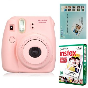 Harga Fujifilm Instax Mini 8 Instant Camera (Pink) + Fuji White Edge Instant 10 Film + Hanging Wall Album