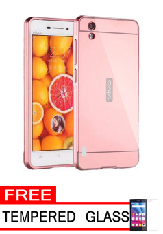 Case for Vivo Y15 Aluminium Bumper With Mirror Backdoor Slide - Rose Gold + Gratis Tempered