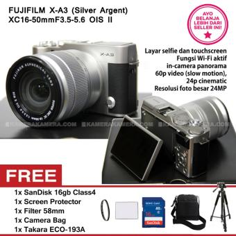 Harga FUJIFILM X-A3 SILVER ARGENT + XC16-50mm F3.5-5.6 OIS II + SanDisk 16GB + Screen Guard + Filter 58mm + Camera Bag + Takara ECO193A