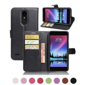 Flip Magnetic Card Wallet Leather Case Stand Cover For LG K10 2017 LG LV5 Black(