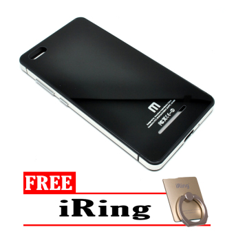 Harga Hardcase Aluminium Tempered Glass Series For Xiaomi Mi 4c - Silver Black + Free I-Ring