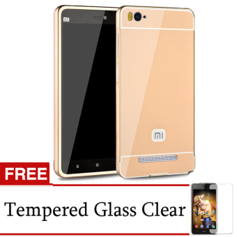 Harga Accessories Hp for Xiaomi MI4i Metal Bumper Backcase - Gold + Gratis Tempered Glass