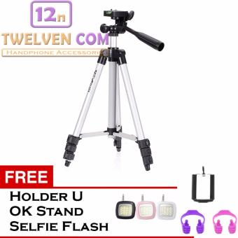 Harga Weifeng Portable Tripod Stand 4 Section Aluminium Legs with Brace WT-3110A - Silver Free Holder U, OK Stand Holder, Lampu Selfie Flash