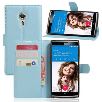 Harga Wallet Flip Leather Case For Alcatel Flash 2/Alcatel OneTouch Flash 2 (Blue) - intl