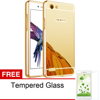 Case For Oppo Neo 7 / A33 Bumper Slide Mirror - Gold + Free Tempered Glass
