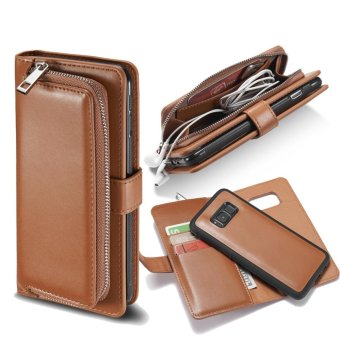 Harga Samsung S8 Plus Case,Gasin Leather Wallet Case with Folio Flip and Removable Back Cover,[Card Slot],Brown,for Galaxy S8 Plus - intl