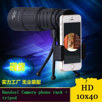 Harga 10x40 Monocular Telescopes Support mobile phone camera with Portable Tripod (black) - intl