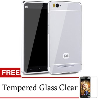 Harga Accessories Hp for Xiaomi MI4i Metal Bumper Backcase - Silver + Gratis Tempered Glass