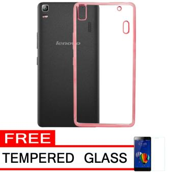 Softcase Silicon Jelly Case List Shining Chrome for Lenovo A7000 - Rose Gold + Free Tempered