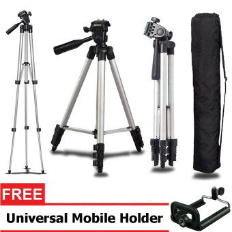 Harga Weifeng Portable Tripod Stand 4 Section Aluminium Legs with Brace WT-3110A - Silver