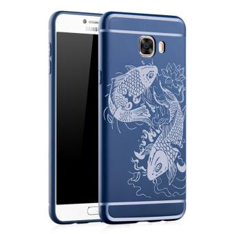Harga Fashion 3D Fish Silicone Back Cover Case For Samsung Galaxy C5 / C5000 (Blue) - intl