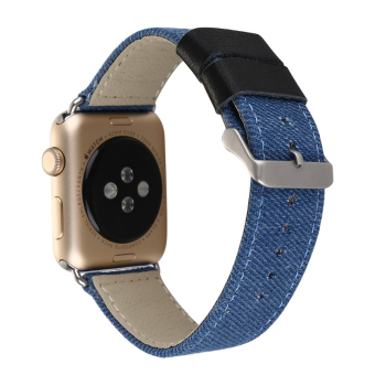 Harga Outdoors Sports Jeans Cloth Genuine Leather Watch Band for Apple Watch iwatch Bracelet Running Strap(38mm Blue)