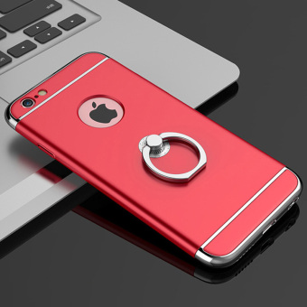 Harga Ultra Thin Metal Hybrid Anti-skidding Hard Back Protective Cover Case With Ring Kickstand for iPhone 6/6S Plus 5.5inch (Red) + 1pcs Tempered Glass Screen Protector Gift - intl