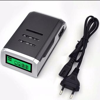 Harga Beauty Smart Quick Charger Aa / Aaa C905W 4 Slots LCD Display Smart Intelligent AA/AAA Battery Charger / Charging Batterai - Hitam