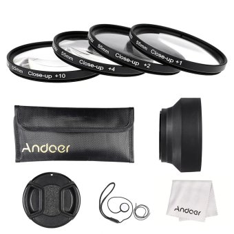Harga Andoer 55mm Close-up Macro Lens Filter Set(+ 1 +2 +4 +10) with Lens Accessories(Lens Pouch/Collapsible Lens Hood/Lens Cap/Lens Cap Holder/Cleaning Cloth)
