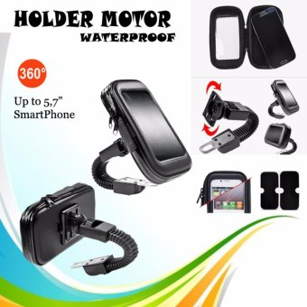 Harga Lucky - Phone Holder Waterproof Holder Bag / Holder Motor Anti Air for smartphone Up To 5.7 inch - Hitam