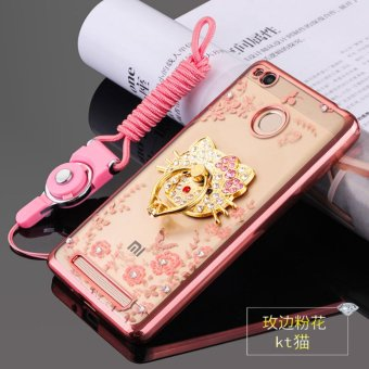 Harga Secret Garden Rhinestone Soft Shell Case Cover For Xiaomi Redmi 3s(KT Cat rose gold) - intl