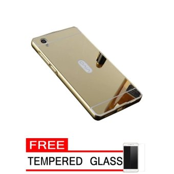 Case Aluminium Bumper Mirror For Vivo Y51 - Gold + Gratis Tempered Glass