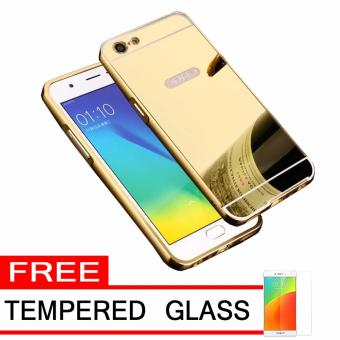 Case Metal for Oppo A39 Aluminium Bumper With Mirror Backdoor Slide - Gold + Free Tempered