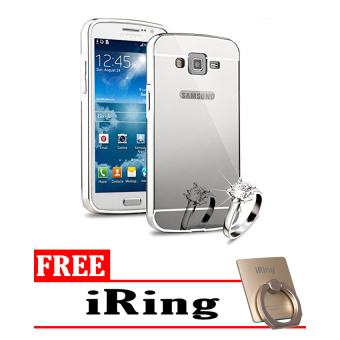 Case For Samsung Galaxy Grand I9082 Bumper Slide Mirror - Silver + Free Tempered Glass