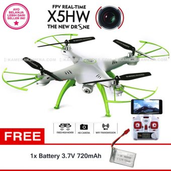 Harga Syma Drone X5HW WIFI FPV Real Time (WHITE) HD 2.0MP Altitude hold + Battery SYMA 3.7V 720mAh