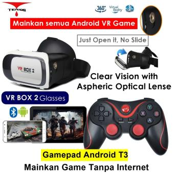 Harga VR Box 2 Play More VR Game with Magnet 3d Vr Glasses Kacamata Cardboard (VB2+T3)