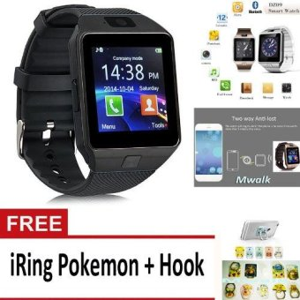 Harga Bluetooth Smart Watch DZ09 with Camera for Android and iOS – Black + Free iRing Pokemon