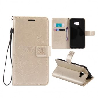 Harga Leather Wallet Flip Cover Case For Samsung Galaxy C5(Gold)