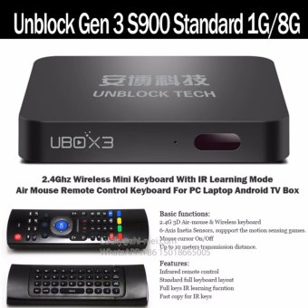 Harga Air Mouse+Unblock Android 5.1 TV Box Gen 3 S900 Standard/ PRO Bluetooth 16G /10.1 inch Upad3 Pro Tablet with 1000+free channels Smart android tv box - intl