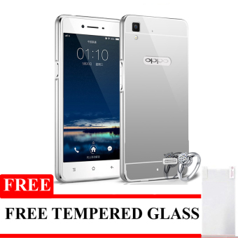 Harga Case Oppo R7/R7 lite Alumunium Bumper With Mirror Backdoor Slide- Silver + Gratis Tempered Glass