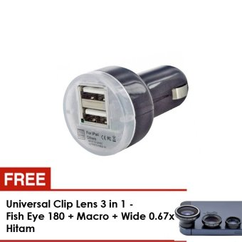 Lucky Fast Car Charger Mobil USB 2 Port Gratis Universal Clip Lens 3 in