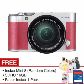 Harga Fujifilm X-A3 Kit 16-50mm + Gratis Instax Mini 8 (Random Color) & SD Card 16GB & Paper Instax 1 Pack