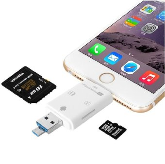 Harga USB Memory Card Reader and OTG phone card reader 3 Slots Card Reader for iPhone 5/5s/6/6 plus/ipad/itouch and Android Phones - intl