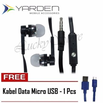 Harga Lucky Yarden Mega Bass Handsfree Sound Only Excellent Sound Quality With Mic - Hitam + Gratis Kabel Data Micro USB - 1 Pcs