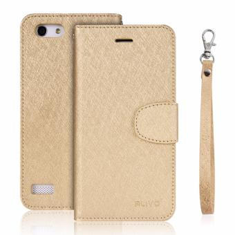Silk Leather Wallet Flip Cover Case For OPPO A33 NEO 7 Gold intl .